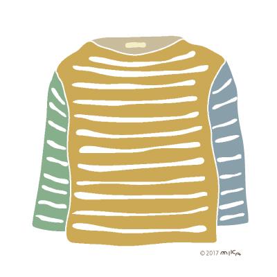 からし色×青系のロングTシャツ