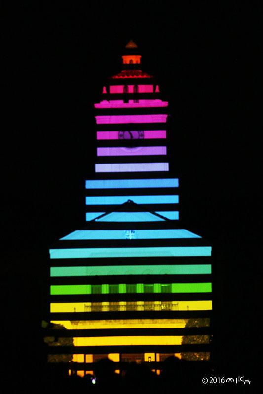 虹色の時計台(関西学院大学時計台プロジェクションマッピング2016年)