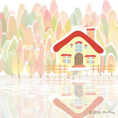 湖畔のおうち(秋)