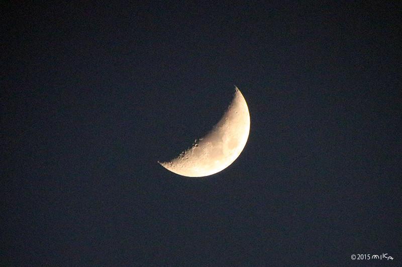 上弦の月(2015年2月26日)雲の切れ目に