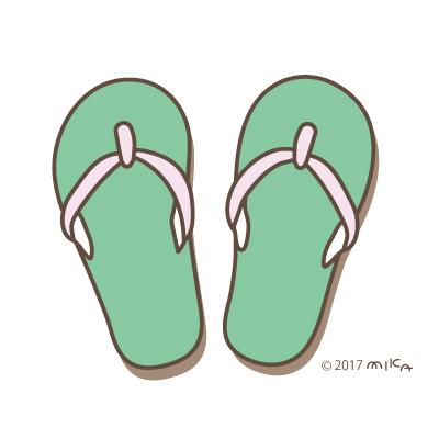 ビーチサンダル(緑×ピンク)