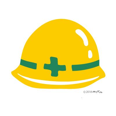 ヘルメット正面(黄色に緑の十字)