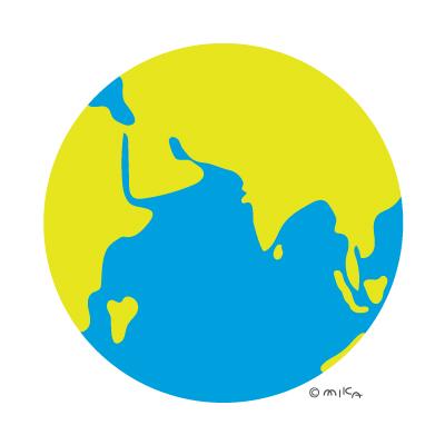 地球のイラスト(ロシア・アフリカ・インド・中国など)