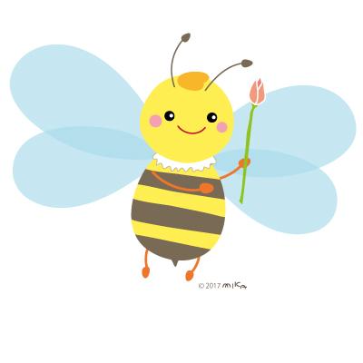 花を持つミツバチ