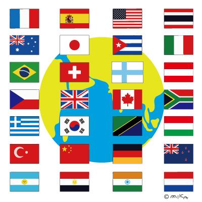 国旗と地球のイラスト