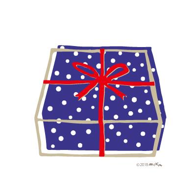 プレゼントの箱(青い箱に赤のリボン)