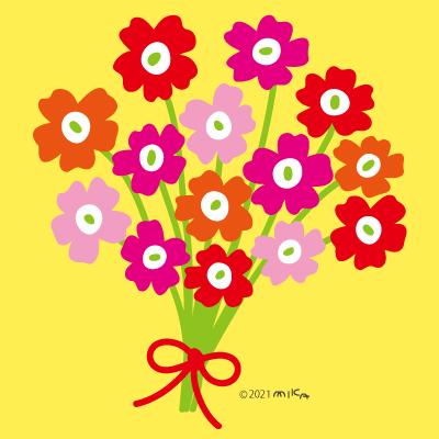 暖色の花束(背景黄色)