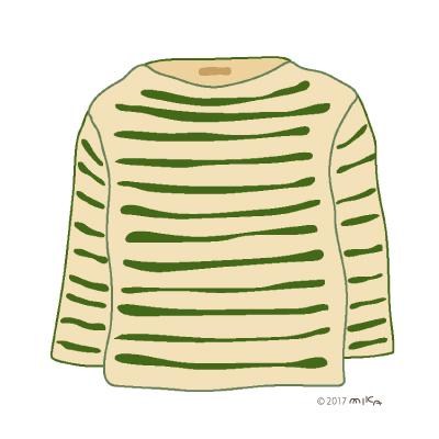 ベージュ×モスグリーンのロングTシャツ