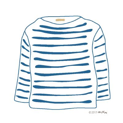 白×青のロングTシャツ