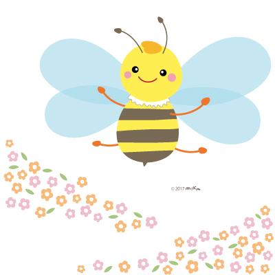 お花畑のミツバチ