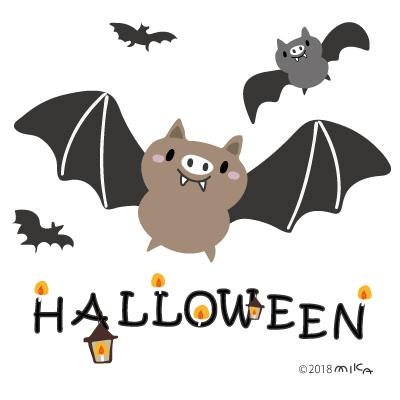ハロウィーンのコウモリのイラスト