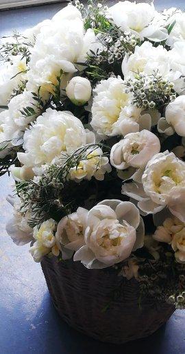 Panière de fleurs coupées (pivoines 500€ Duchesse de Nemours)