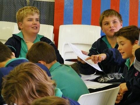 Karakters word ontwikkel gedurende 'n skoolbesoek.