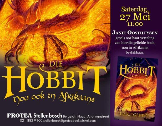 """""""The hobbit"""" deur JRR Tolkien, in Afrikaans vertaal as """"Die hobbit""""."""
