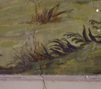 Partie inférieure de « Moïse et le Buisson Ardent », fissure verticale dans le mur