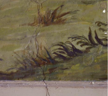 "Lower part of ""Moses and the Burning Bush"", vertical crack in the wall"