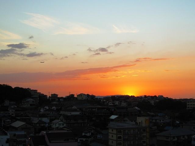 中央会館7階から見える夕焼けです。