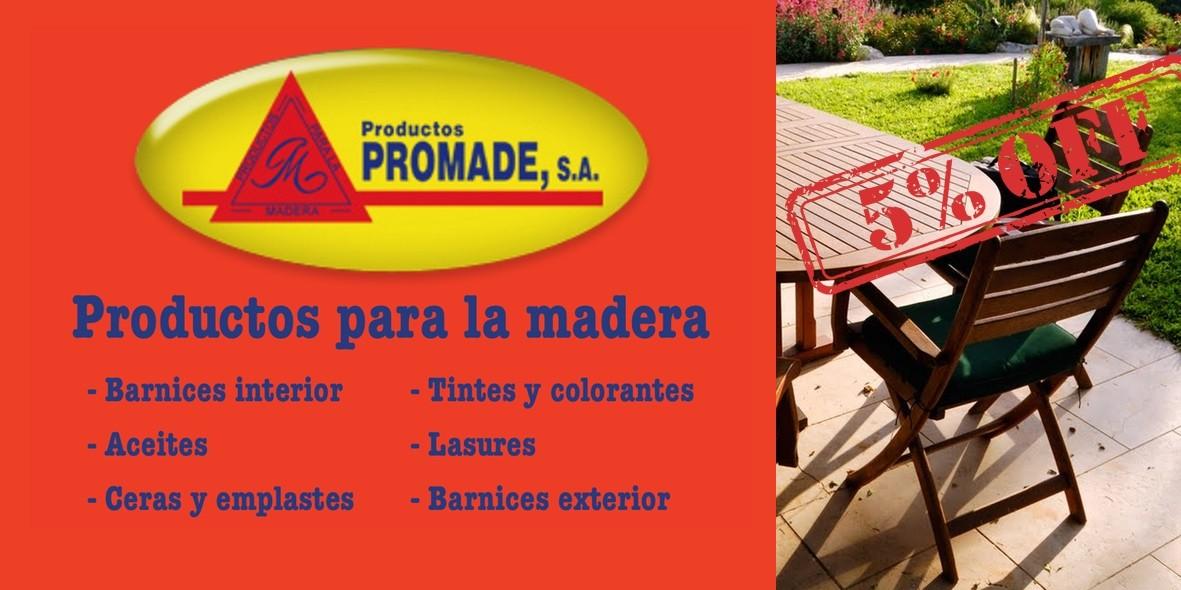 Barnices y Lasures para madera. Disponibles en todo el catálogo de productos Promade.