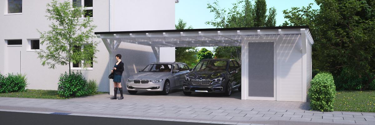 Solarglas Carport mit Geräteraum