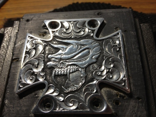 エングレービング 彫金 エアクリーナー westcoastchoppers  チョッパー engraved axclcover for wcc harley davidson chopper
