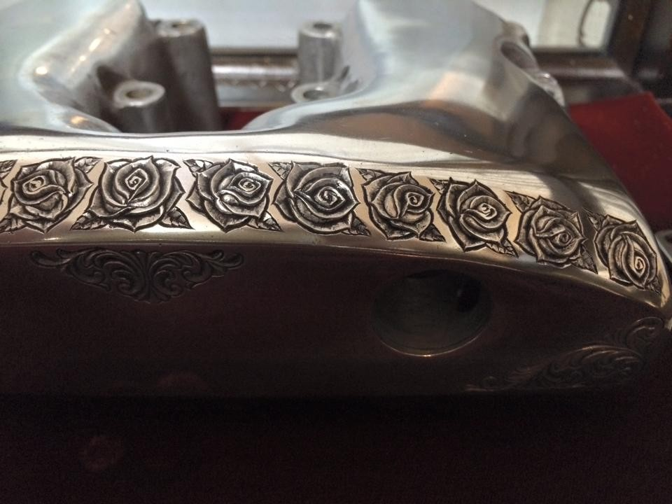 エングレービング 彫金 ショベル engraved rockercover for shovelhead harley davidson