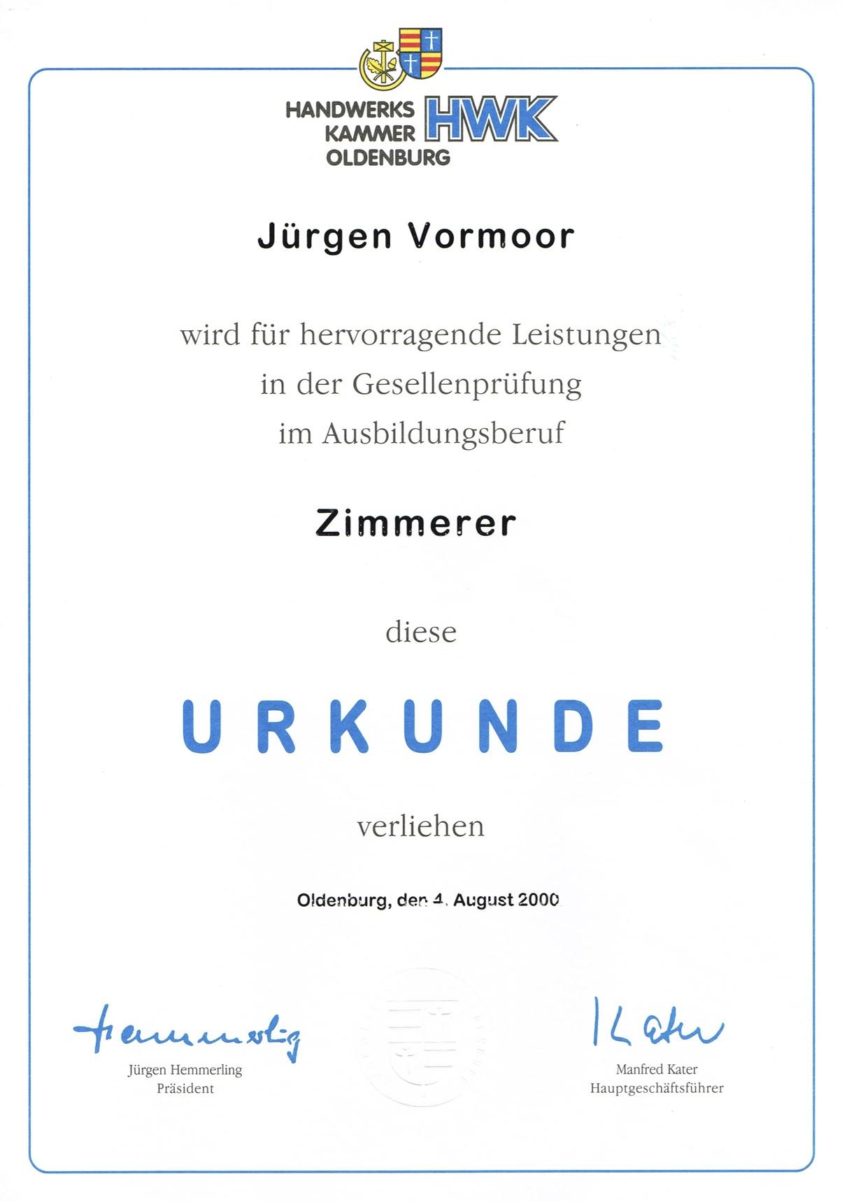 Urkunde für Gesellenbrief mit Auszeichnung