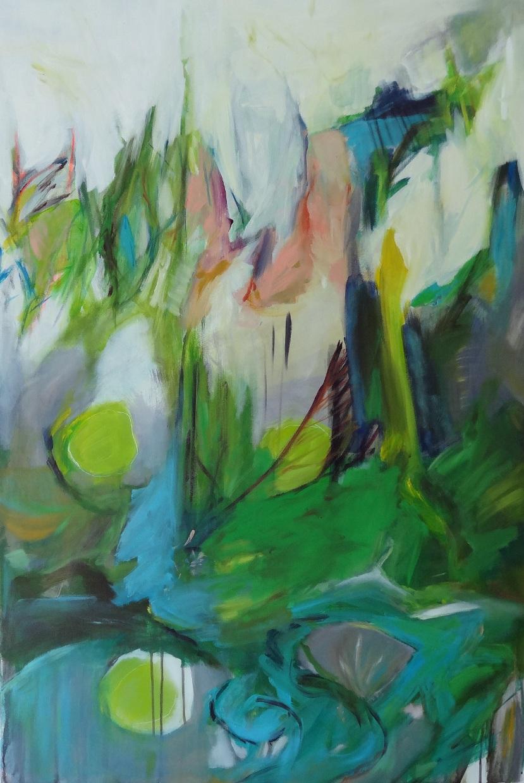 Versuch über das Grün IV, Öl u Acryl a.L., 120x80cm, 2016