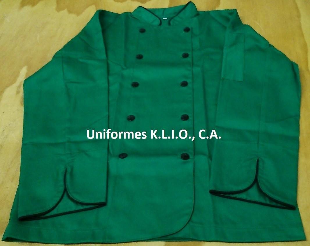 Chaqueta de Chef Verde Navidad vivo Negro.