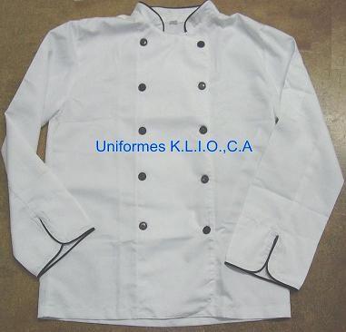 Chaqueta de Chef Blanca vivo negro.