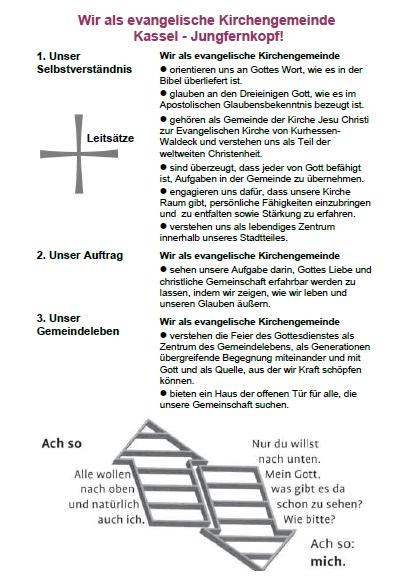 Bild zeigt die grafische Darstellung der Leitsätze der evangelischen Kirchengemeinde Jungfernkopf. Gegliedert in 1. Unser Selbstverständnis, 2. Unser Auftrag und 3. Unser Gemeindeleben.