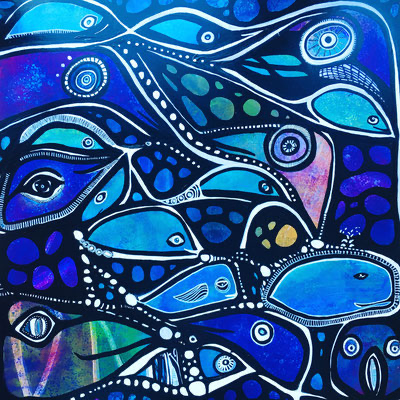 Blue Fishes, 80 x 80 cm, Acryl auf Leinwand