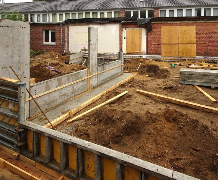 Mit einem Baukastensystem wird der Betonguss vorbereitet.