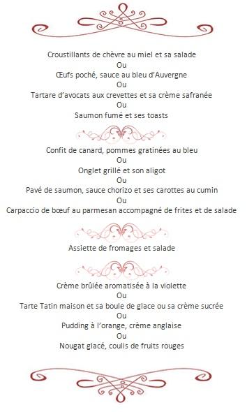 Menu tourisitique de notre restaurant Castel Régina
