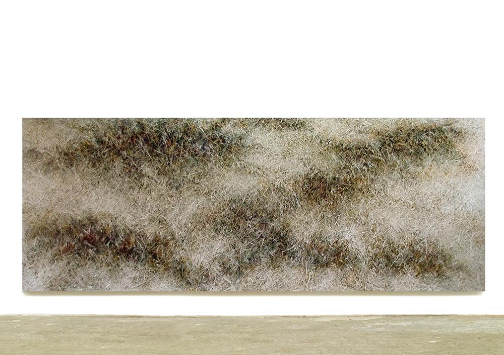 Skriptur VIII 2014  Kunstharz, Steinmehl, Acrylfarbe, Ölfarbe auf Leinwand  150 x 400 cm