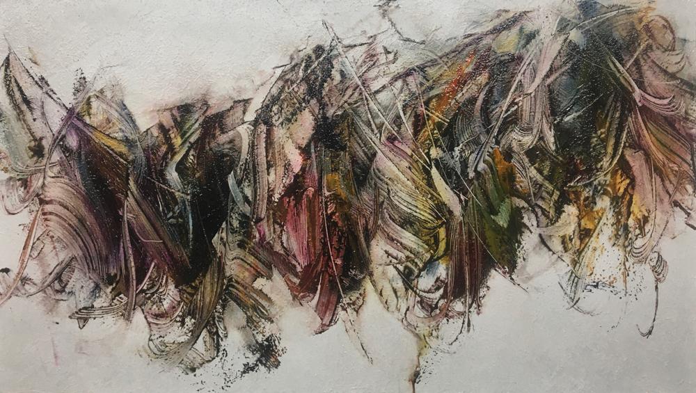 Skriptur 21.11.2019 Kunstharz, Steinmehl, Acryl, Öl auf Aluminium 29,5 x 52 cm