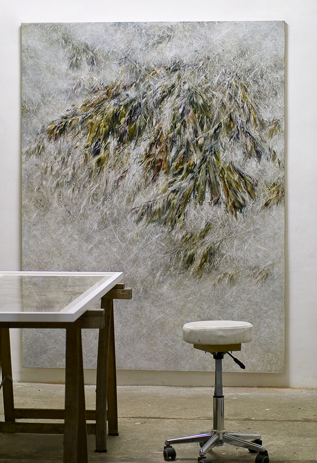 Skriptur XIX 2016   Kunstharz, Steinmehl, Acrylfarbe, Ölfarbe auf Leinwand, 210 x 160 cm, Privatsammlung Florenz