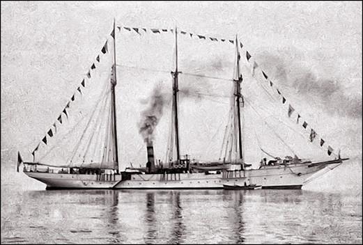 Henri Menier — La Bacchante acquise en 1897  —  Il appareille du Havre le 6 juin 1889 et arrive sur l'île d'Anticosti le 22 juin.