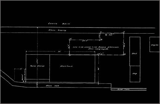Plan de l'emplacement de l'entrepôt Anticosti accompagnant l'acte notarié.