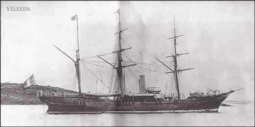 Henri Menier — Velleda ex Nubienne, un steam-yacht capable grâce à sa voilure de filer 14 noeuds et premier yacht français à avoir «tâté de la banquise (15 juillet 1886).