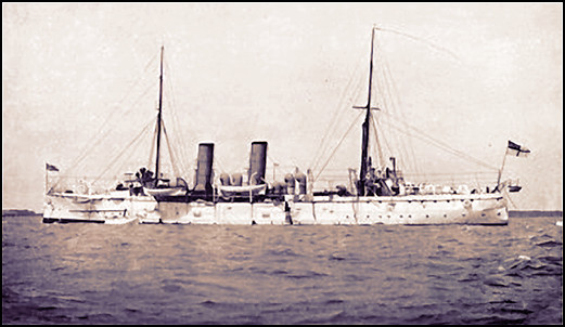 HMS Pallas en 1896, capitaine l'Honorable Walter G. Stopford