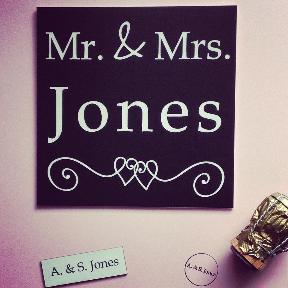 Hochzeitsset bestehend aus Tür- und Klingelschild und Stempel