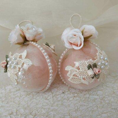 Palline di vetro decorata handmade esterno/interno con stoffe e merletti shabby