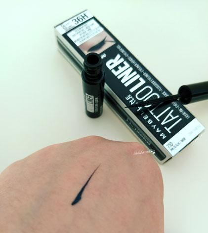 Eyeliner sul dorso mano tattoo liner maybelline ink black noir 710