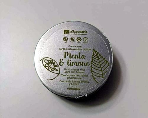 Davanti scatolina riciclata crema mani la saponaria da 60 ml menta &limone