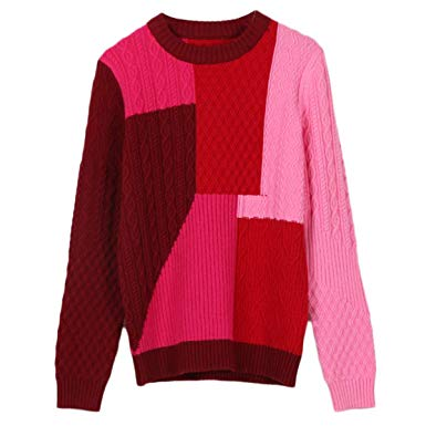 maglione color-block con crontasti del rosa e rosso 2020