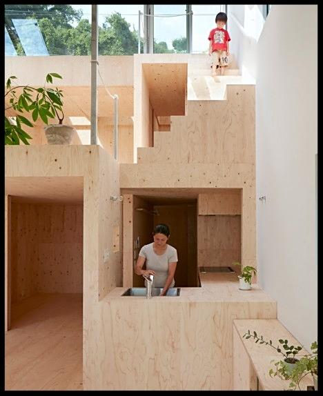 Cucina e casa  con dettagli scale minimal giapponese