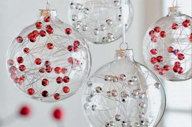 Palline di vetro decorate handmade interno con filamenti e piccole palline