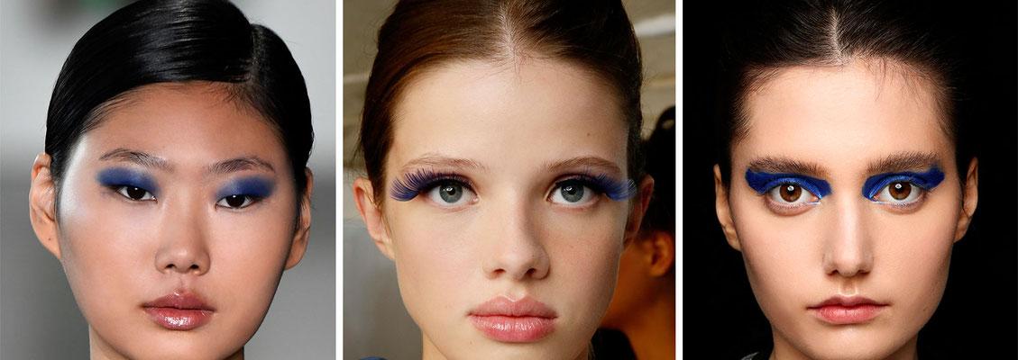 Modelle indossano diversi make up con tonalità blu classic 2020