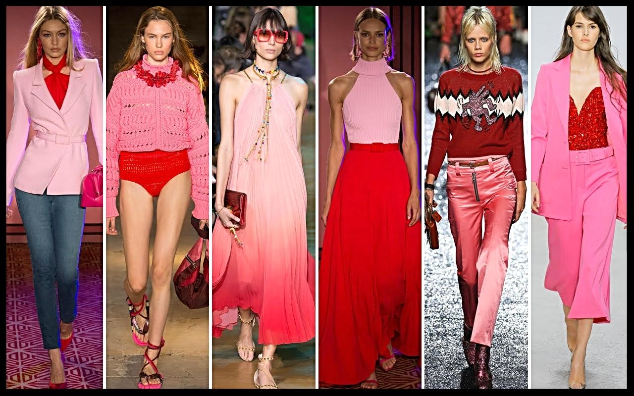 Accostamento di colori-Rosso e rosa- Trend primavera -estate 2018