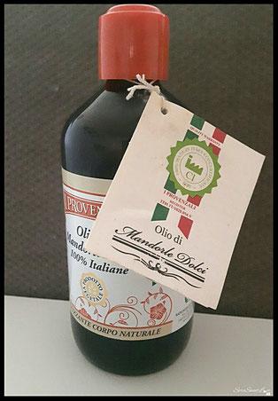 Confezione olio alle mandorle dolci I provenzali con apposito tag certificato  di analisi